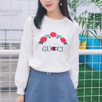GUCCI Fashion Embroider Roes Casual Long Sleeve Sweater