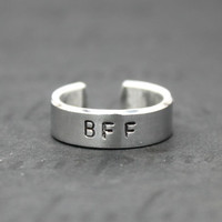 BFF Ring,  Best Friend with Initials Ring, Hand Stamped Aluminum Best Friend Jewelry, Best-Friends Forever Gift