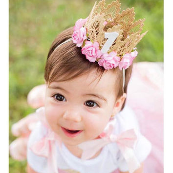Princess Girl Head Accessories Baby Newborn Hairband Baby Hair Band Elastic Flower Crown Headwear #LSW