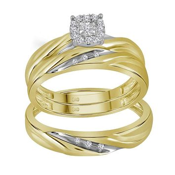 10kt Yellow Gold His & Hers Round Diamond Solitaire Matching Bridal Wedding Ring Band Set 1/8 Cttw - FREE Shipping (US/CAN)