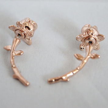 Limited collection rose stem double sided stud earrings