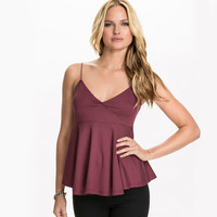 V-neck Strappy Pleated Top