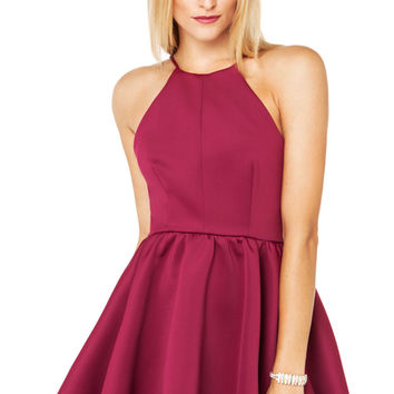Thick Scuba Party Dress in Plum