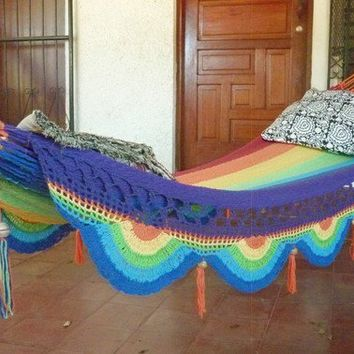 Rainbow magic, Beautiful single size hammock, Rainbow colors combination with Special Fringe