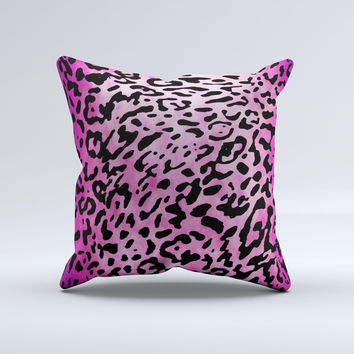 Hot Pink Cheetah Animal Print Ink-Fuzed Decorative Throw Pillow