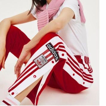 Adidas New Fashion Originals Adibreak Poppe Pants Snap Track Bottom Women Men Sides Open Button Trousers  Red