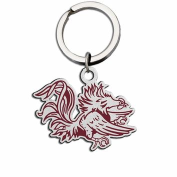 South Carolina Gamecocks Large Size Stainless Steel Key Ring with Color. Collegiate Key Rings