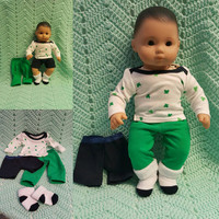 "Baby Doll Clothes to fit 15 inch baby doll BOY ""Frog Frenzy"" 15 inch playset top socks pants shorts frogs R5"