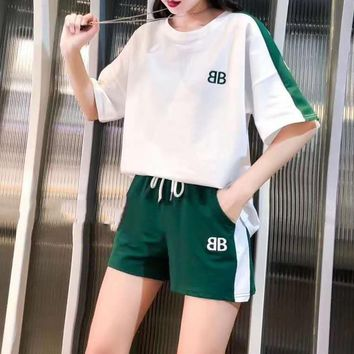 Woman's Leisure  Fashion Letter Embroidery Printing  Spell Color Loose  Short Sleeve Shorts Two-Piece Set Sportswear