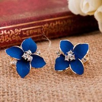 Cute Four Leaves Rhinestone Earrings