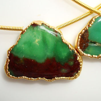 Natural Rare Emerald Green Brown Chrysoprase 24k Gold edged Smooth Slab Gemstone, Smooth Slice Pendant - Full Strand, Sale, 25% off - N30-1