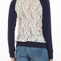 Women's lace back patchwork hoodies full sleeve tops [8384307463]