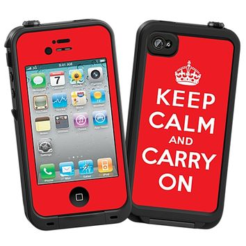 Keep Calm and Carry On Skin for the iPhone 4/4S Lifeproof Case by skinzy.com