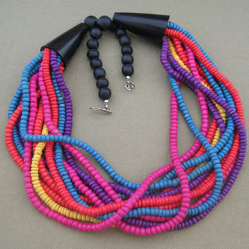 Bright Multi Color Layered Wood Bead Necklace