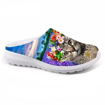 Lady Slippers Breathable Mesh Shoes 3D Animal Pet Cat Print Women Casual Beach Sandals Slip-on Loafers Female Flats