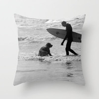 One Surfer And His Dog Throw Pillow by Cornish Seascapes