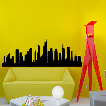 Chicago Skyline City Silhouette Wall Vinyl Decal Sticker Home Decor Art Mural  Z384