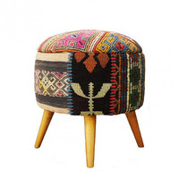Ethnic Kilim Round Stool, Covered with Vintage Over dyed Rug/Kilim Stool