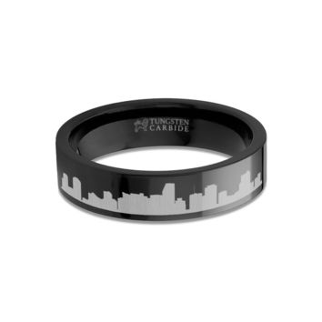 Miami City Skyline Cityscape Engraved Black Tungsten Ring