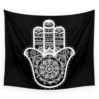 Society6 Black & White Hamsa Hand Wall Tapestry