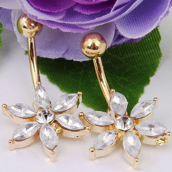 316l Surgical Steel Flower Naval Ring Piercing Barbell Belly Button Piercing Jewellery