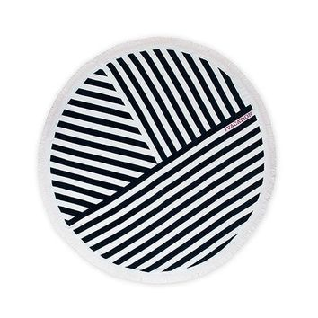 Navy & White Striped Round Beach Towel (Pack of 1)