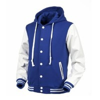 Angel Cola Blue & White Hoodie Varsity Cotton & Synthetic Leather Baseball Letterman Jacket (Large)