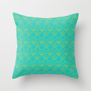 Seashell Starfish Summer Throw Pillow by Richard Casillas | Society6