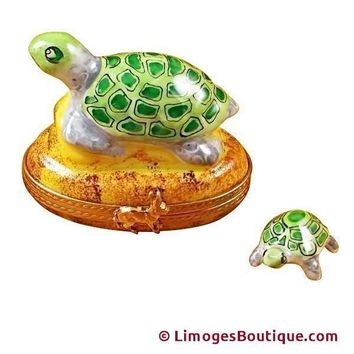 TURTLE ON A ROCK LIMOGES BOXES