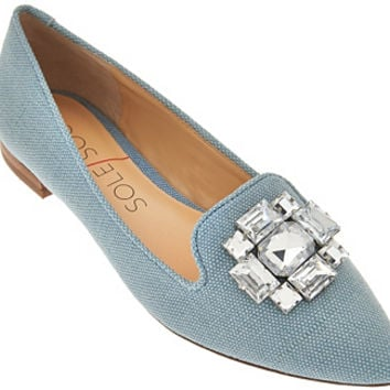 Sole Society Embellished Pointed Toe Flats - Libry - A274486 — QVC.com