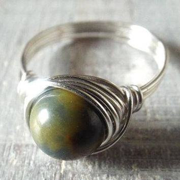 Pietersite Ring, Ring with Stone, Blue Stone Ring, Wire Wrapped Ring, Pietersite Jewelry, Easter Gift, Gift for Her, Unique Ring, Cute Ring
