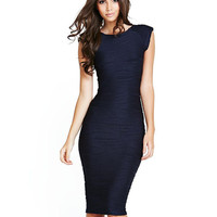 Blue Textured Sleeveless Knee Length Bodycon Dress