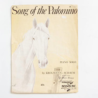 Vintage Sheet Music Song of the Palomino Horse Print, Equestrian Western Ranch Decor, Makes Cute Wall Art