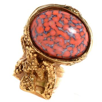 Saint Laurent Yves YSL Arty Ovale Oval Ring Coral Glass Set 196994 Size 5