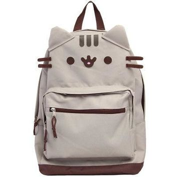 Pusheen The Cat Face School/Travel Backpack Bag - Grey/Brown