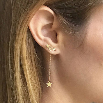 Gold Celestial Star ear Climber earrings with Star Charm Drop.   3 in 1