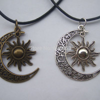 "Crescent Moon And Sun Charm Pendant Black Leather Necklace Boho Hippy 18"" - 26"""