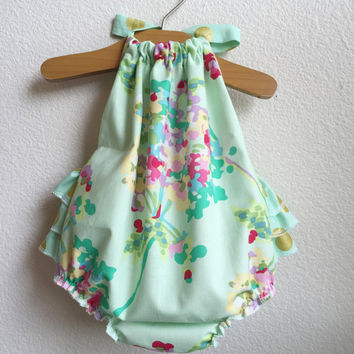 Mint Water Bouquet Ruffled Baby Girl Romper. Baby Girl Romper. Baby Sun Suit. Baby Bubble Romper.