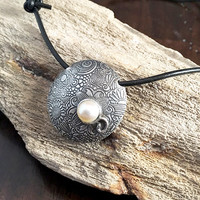 Silver Necklace Pendant - Freshwater Pearl Necklace - Pearl Pendant - Unique - Handmade