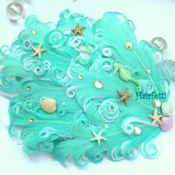 Mermaid Tail Trail aqua mermaid hair clip, seashell hair clip, starfish hair clip, beach wedding accessory, dance costume, mermaid costume,