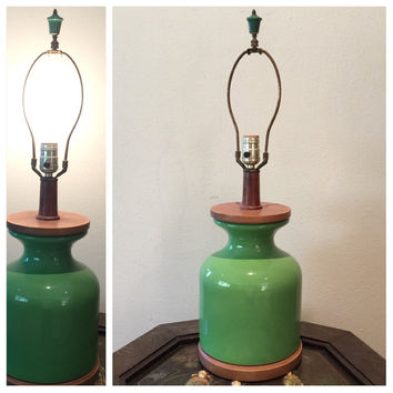 Mid Century Table Lamp Green Ceramic Pottery Jar Style Vintage