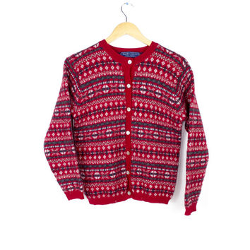 womens 100% wool red nordic knit cardigan sweater / medium - large