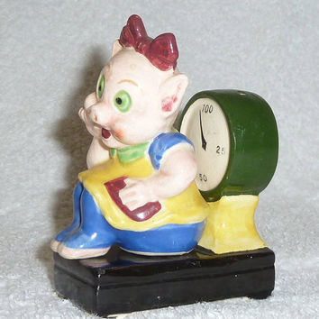 Vintage Anthropomorphic Girl Lady Pig Sitting on Scale Porky Pig Petunia on Scale Salt and Pepper Shakers Figurine Cartoon