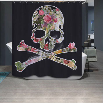 180*180Cm Vogue Flower Skull Butterfly Custom Shower Curtain Bathroom Decor Fashion Design #86326