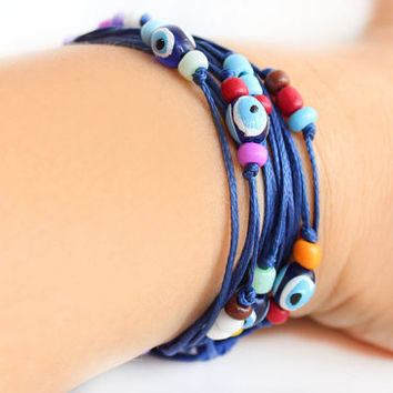 Navy blue waxed cotton cords (2) wrap bracelet summer bracelet evil eyes colorful beads boho hippie bohemian