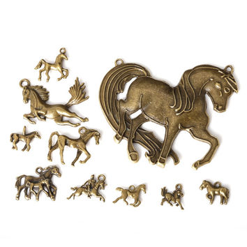 metal bronze plated charms horse pendants hand made supplies fit necklaces bracelets jewelry making