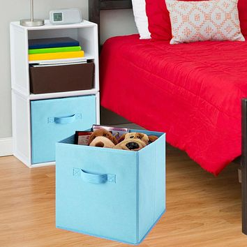 About 26x26x26cm Polyester Foldable Storage Collapsible Folding Box Home Clothes Organizer Fabric Cube Folding Storage Box@GH