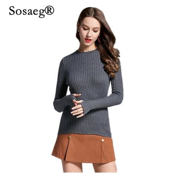 Sosaeg High Quality Solid Casual sweaters Autumn Winter 2018 NEW European Style Fashion Outwear Pullovers Knitted Sweater Women