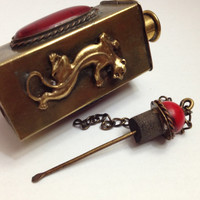 Antique Brass Panther and Jewelled Snuff Box