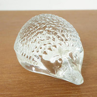 Heavy glass hedgehog figurine or paperweight with textured body